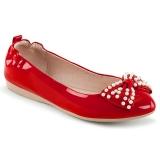 Röd IVY-09 ballerinaskor platta damskor med pärlor