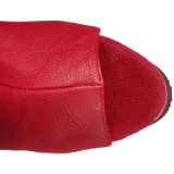 Röd Konstläder 15 cm DELIGHT-3019 Lårhöga Stövlar med Platåsula