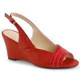 Röd Konstläder 7,5 cm KIMBERLY-01SP stora storlekar sandaler dam