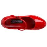Röd Lack 11 cm MARYJANE-50 Mary Jane Höga Platåpumps