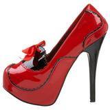 Röd Lack 14,5 cm Burlesque BORDELLO TEEZE-01 Höga Platåpumps