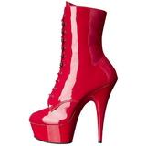 Röd Lack 15,5 cm DELIGHT-1020 Platå Stövletter