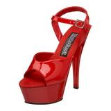 Röd Lack 15 cm JULIET-209 Högklackat sandaletter platå