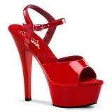 Röd Lack 15 cm Pleaser KISS-209 Höga sandaletter med klack
