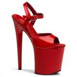 Röd Lack 20 cm FLAMINGO-809 Högklackade damskor platå