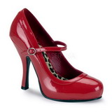 Röd Lackerade 12 cm rockabilly PRETTY-50 kvinnor pumps med låg klack