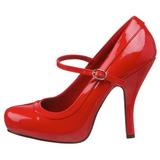 Röd Lackerade 12 cm rockabilly PRETTY-50 kvinnor pumps med låg klack