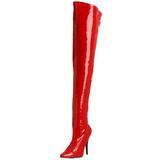 Röd Lackerade 13 cm SEDUCE-3000 Lårhöga Stövlar för Män