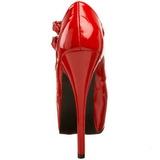 Röd Lackerade 14,5 cm Burlesque TEEZE-05 damskor med hög klack
