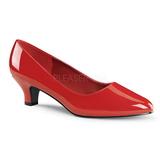 Röd Lackerade 5 cm FAB-420W kvinnor pumps med låg klack