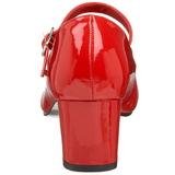 Röd Lackerade 5 cm SCHOOLGIRL-50 Klassiska Pumps Klackskor Dam