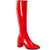 Röd Lackerade 7,5 cm GOGO-300 Höga Damstövlar för Män