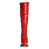 Röd Lackerade 8,5 cm GOGO-300 Höga Damstövlar för Män