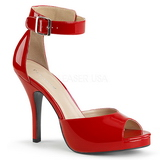 Röd Lackläder 12,5 cm EVE-02 stora storlekar sandaler dam