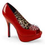 Röd Lackläder 13,5 cm PIXIE-17 Goth Pumps Skor Dam