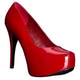 Röd Lackläder 14,5 cm TEEZE-06W pumps för män med breda fötter