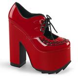 Röd Lackläder 16 cm CRAMPS-01 Goth Pumps Skor Dam