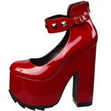 Röd Lackläder 16 cm CRAMPS-03 Goth Pumps Skor Dam