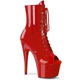 Röd Lackläder 18 cm ADORE-1021 dam stövletter med platåsula klack