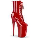 Röd Lackläder 23 cm INFINITY-1020 extremt höga platåstövletter - superhöga plattåklackar