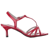 Röd Lackläder 6 cm KITTEN-06 stora storlekar sandaler dam