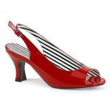 Röd Lackläder 7,5 cm JENNA-02 stora storlekar sandaler dam