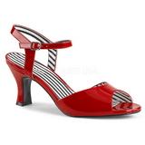 Röd Lackläder 7,5 cm JENNA-09 stora storlekar sandaler dam