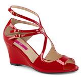 Röd Lackläder 7,5 cm KIMBERLY-04 stora storlekar sandaler dam