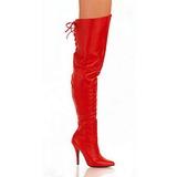 Röd Läder 13 cm LEGEND-8899 Overknee Stövlar Kvinna
