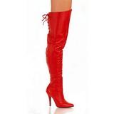 Röd Läder 13 cm LEGEND-8899 Overknee Stövlar för Män
