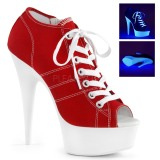 Röd Neon 15 cm DELIGHT-600SK-01 canvas sneakers med hög klack