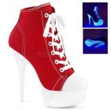 Röd Neon 15 cm DELIGHT-600SK-02 canvas sneakers med hög klack
