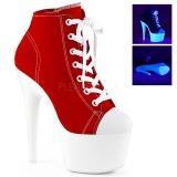 Röd Neon 18 cm ADORE-700SK-02 canvas sneakers med hög klack