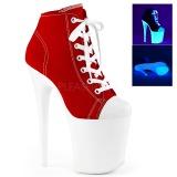 Röd Neon 20 cm FLAMINGO-800SK-02 canvas sneakers med hög klack