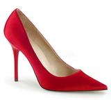 Röd Satin 10 cm CLASSIQUE-20 stora storlekar stilettos skor
