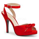 Röd Satin 12,5 cm EVE-01 stora storlekar sandaler dam
