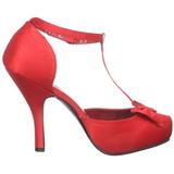 Röd Satin 12 cm retro vintage CUTIEPIE-12 kvinnor pumps med låg klack