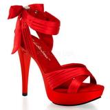Röd Satin 13 cm COCKTAIL-568 Högklackade Sandaler Skor