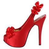 Röd Satin 14,5 cm Burlesque TEEZE-56 Platå Högklackade Sandaler Skor