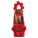 Röd Satin 14,5 cm TEEZE-56 Platå Högklackade Sandaler Skor