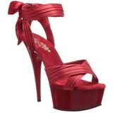 Röd Satin 15 cm DELIGHT-668 Höga Fest Sandaler med Klack