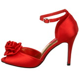 Röd Satin 9,5 cm ROSA-02 Högklackade Dam Sandaletter