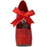 Röd Strass 14,5 cm Burlesque TEEZE-04R Höga Platå Pumps Skor