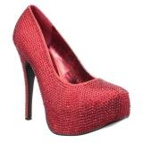 Röd Strass 14,5 cm Burlesque TEEZE-06RW pumps för män med breda fötter