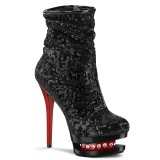 Röd Svart Paljetter 15,5 cm BLONDIE-R-1009 pleaser platåstövletter - högklackade boots