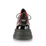 Röd Vegan 12,5 cm STOMP-08 lolita stövletter platå kilklackar