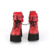 Röd Vegan 9 cm ASHES-57 lolita platå ankleboots med blockklack till kvinnor