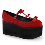 Röd duk 8 cm CLICK-08 goth platåskor lolita skor tjock sula