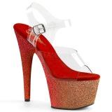 Röd glittriga klackar 18 cm Pleaser ADORE-708OMBRE pole dance skor
