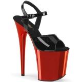 Röd krom platå 20 cm FLAMINGO-809 pleaser höga klackar för kvinnor
